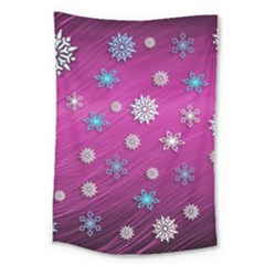 Snowflakes Winter Christmas Purple Large Tapestry