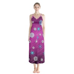 Snowflakes Winter Christmas Purple Button Up Chiffon Maxi Dress