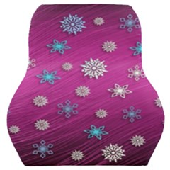 Snowflakes Winter Christmas Purple Car Seat Back Cushion