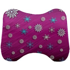 Snowflakes Winter Christmas Purple Head Support Cushion