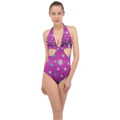 Snowflakes Winter Christmas Purple Halter Front Plunge Swimsuit by HermanTelo