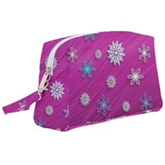 Snowflakes Winter Christmas Purple Wristlet Pouch Bag (large) by HermanTelo
