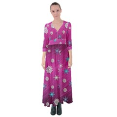 Snowflakes Winter Christmas Purple Button Up Maxi Dress