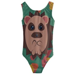 Hedgehog Animal Cute Cartoon Kids  Cut-out Back One Piece Swimsuit