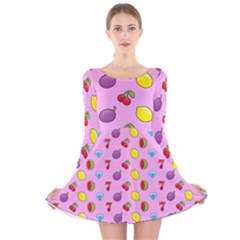Slot Machine Wallpaper Long Sleeve Velvet Skater Dress