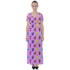 Slot Machine Wallpaper High Waist Short Sleeve Maxi Dress