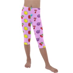 Slot Machine Wallpaper Kids  Lightweight Velour Capri Leggings  by HermanTelo