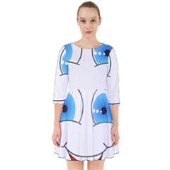 Smiley Face Laugh Comic Funny Smock Dress