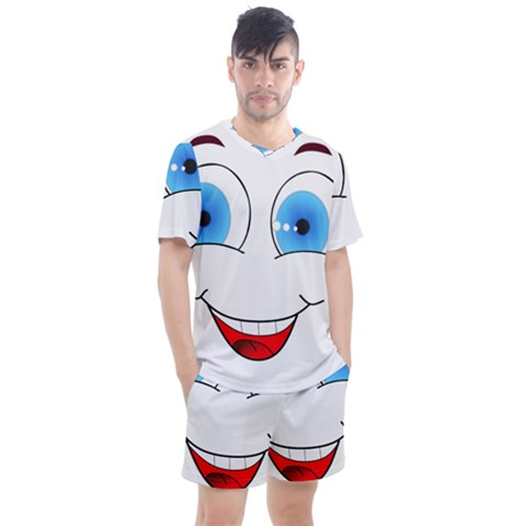 Smiley Face Laugh Comic Funny Men s Mesh Tee And Shorts Set by Sudhe
