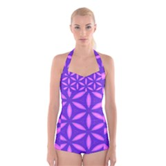 Purple Boyleg Halter Swimsuit