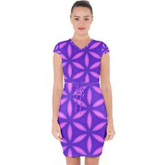 Purple Capsleeve Drawstring Dress