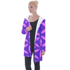 Purple Longline Hooded Cardigan