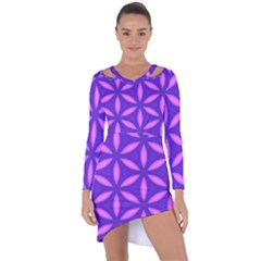 Purple Asymmetric Cut Out Shift Dress
