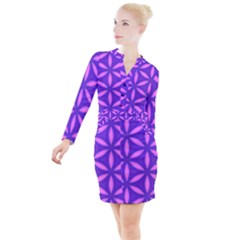 Purple Button Long Sleeve Dress
