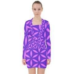 Purple V Neck Bodycon Long Sleeve Dress
