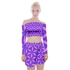 Purple Off Shoulder Top With Mini Skirt Set