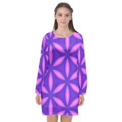 Purple Long Sleeve Chiffon Shift Dress