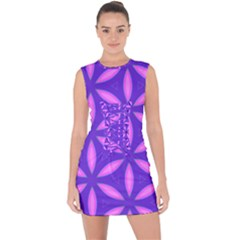 Purple Lace Up Front Bodycon Dress