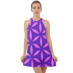 Purple Halter Tie Back Chiffon Dress