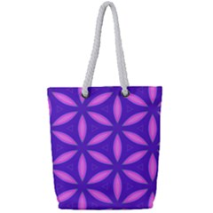 Purple Full Print Rope Handle Tote (small)