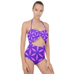Purple Scallop Top Cut Out Swimsuit