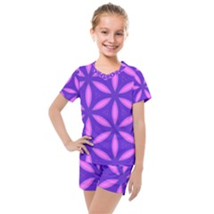 Purple Kids  Mesh Tee And Shorts Set