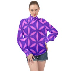 Purple High Neck Long Sleeve Chiffon Top