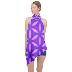 Purple Halter Asymmetric Satin Top