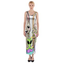 Graphic Kawaii Bunnies Fitted Maxi Dress