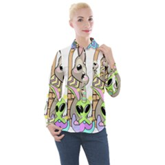 Graphic Kawaii Bunnies Women s Long Sleeve Pocket Shirt