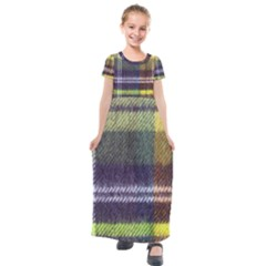 Yellow Plaid Flannel Kids  Short Sleeve Maxi Dress by snowwhitegirl