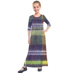 Yellow Plaid Flannel Kids  Quarter Sleeve Maxi Dress by snowwhitegirl