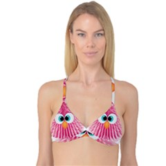 Bird Fluffy Animal Cute Feather Pink Reversible Tri Bikini Top by Sudhe