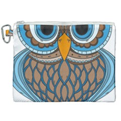 Owl Drawing Art Vintage Clothing Blue Feather Canvas Cosmetic Bag (xxl)