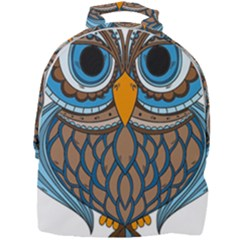 Owl Drawing Art Vintage Clothing Blue Feather Mini Full Print Backpack