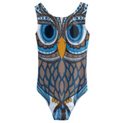 Owl Drawing Art Vintage Clothing Blue Feather Kids  Cut-out Back One Piece Swimsuit