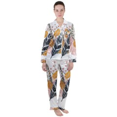 Feather Feathers Satin Long Sleeve Pyjamas Set