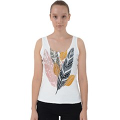 Feather Feathers Velvet Tank Top by Sudhe