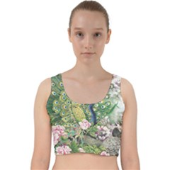 Peafowl Peacock Feather Beautiful Velvet Racer Back Crop Top by Sudhe