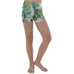 Peafowl Peacock Feather Beautiful Kids  Lightweight Velour Yoga Shorts