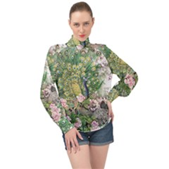 Peafowl Peacock Feather Beautiful High Neck Long Sleeve Chiffon Top by Sudhe