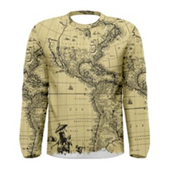 Map Vintage Old Ancient Antique Men s Long Sleeve Tee