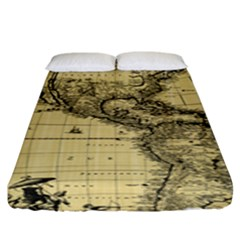 Map Vintage Old Ancient Antique Fitted Sheet (king Size) by Sudhe