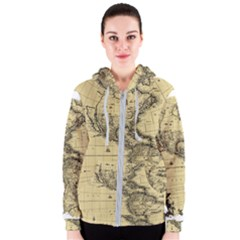 Map Vintage Old Ancient Antique Women s Zipper Hoodie by Sudhe