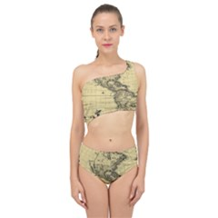 Map Vintage Old Ancient Antique Spliced Up Two Piece Swimsuit