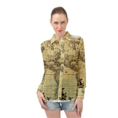 Map Vintage Old Ancient Antique Long Sleeve Chiffon Shirt by Sudhe