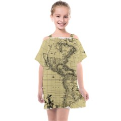 Map Vintage Old Ancient Antique Kids  One Piece Chiffon Dress by Sudhe