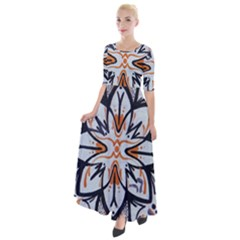 White Black And Orange Illustration Half Sleeves Maxi Dress