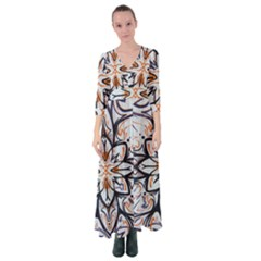 White Black And Orange Illustration Button Up Maxi Dress