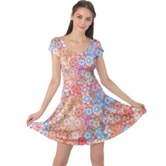 Art Beautiful Flowers Flames Generative Art Cap Sleeve Dress
